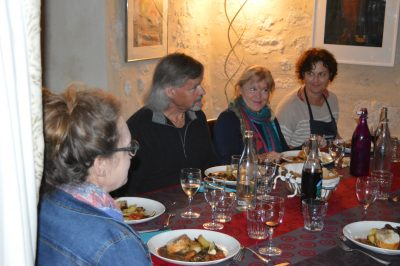 Gascony Cookery School evening meal
