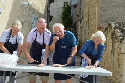Gascony Cookery School scaling fish